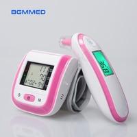 Digital Wrist Blood Pressure Monitor Automatic Sphygmomanometer Infrared Ear Thermometer Tonometer Fever Alarm