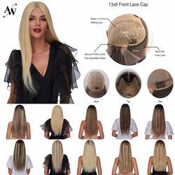 AW 20 '', pelucas transparentes de mitad de encaje, peluca de cabello humano Remy frontal de encaje Pre arrancado, densidad del 150% para mujeres