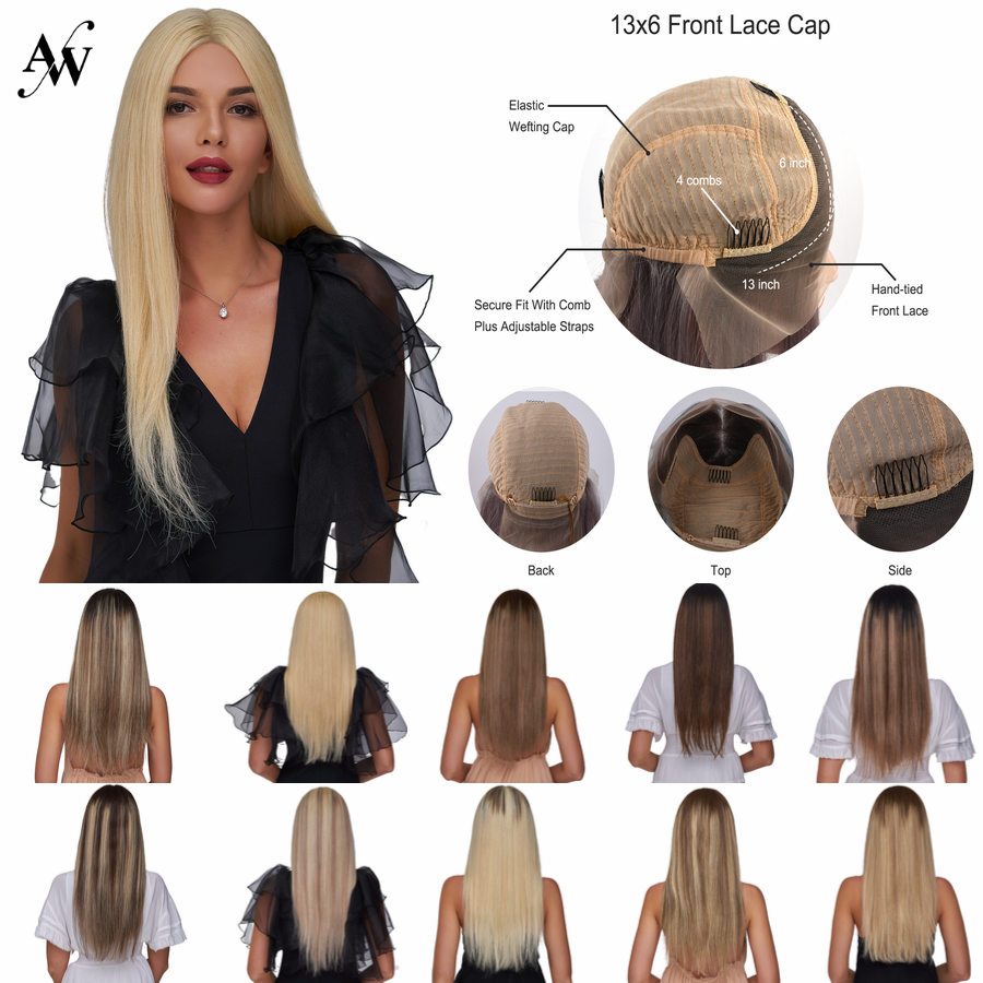AW 20'' Transparent Half Lace Wigs Straight Pre Plucked Hairline Lace Front Balayage Remy Human Hair Wig For Women 150% Density