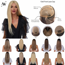 AW 20'' Transparent Half Lace Wigs Straight Pre Plucked Hairline Lace Front Balayage Remy Human Hair Wig For Women 150% Density(China)