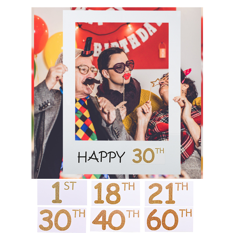 1st 18th 21st 30th 40th <font><b>60th</b></font> Happy <font><b>Birthday</b></font> Photo Booth Frame White Photobooth Kids Adult <font><b>Birthday</b></font> Party <font><b>Decor</b></font> Photobooth Props image