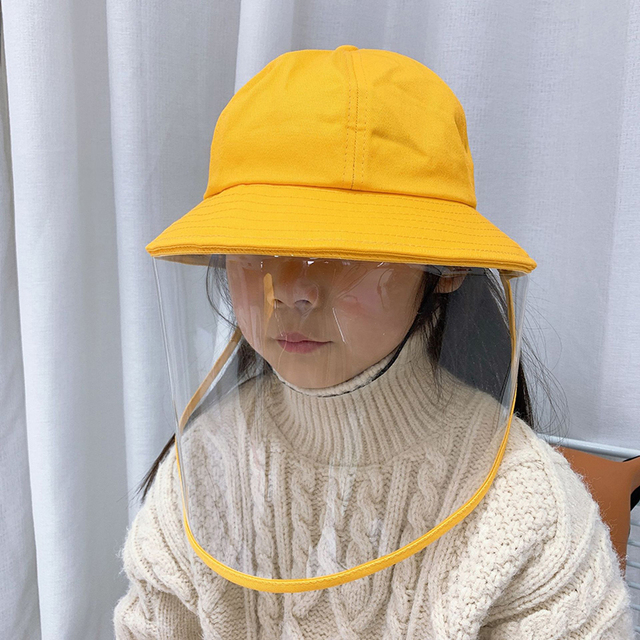 NEW safety bucket hat anti dust mask cover hat anti flue spittle transparent mask full face cover up cute hat for kids 1