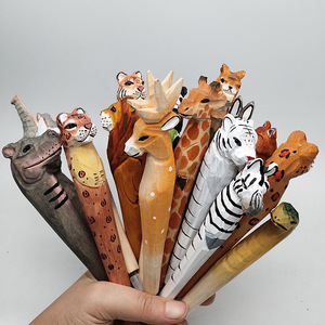 Image 1 - 20pcs/set Wholesale Cartoon Wedding Gifts Stationery Cute Handmade Wood Carving Pen Wholesale Wood Animal Pen for Kids