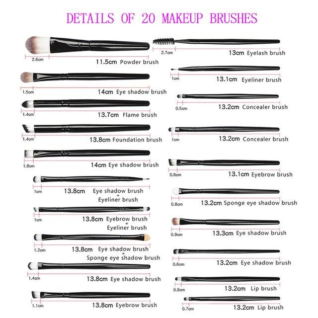 20PCS Makeups Brush kits Cosmetics Brushes Make Up Eye Liner natural-synthetic hair beauty makeup brushes tools for Maquiagem 1