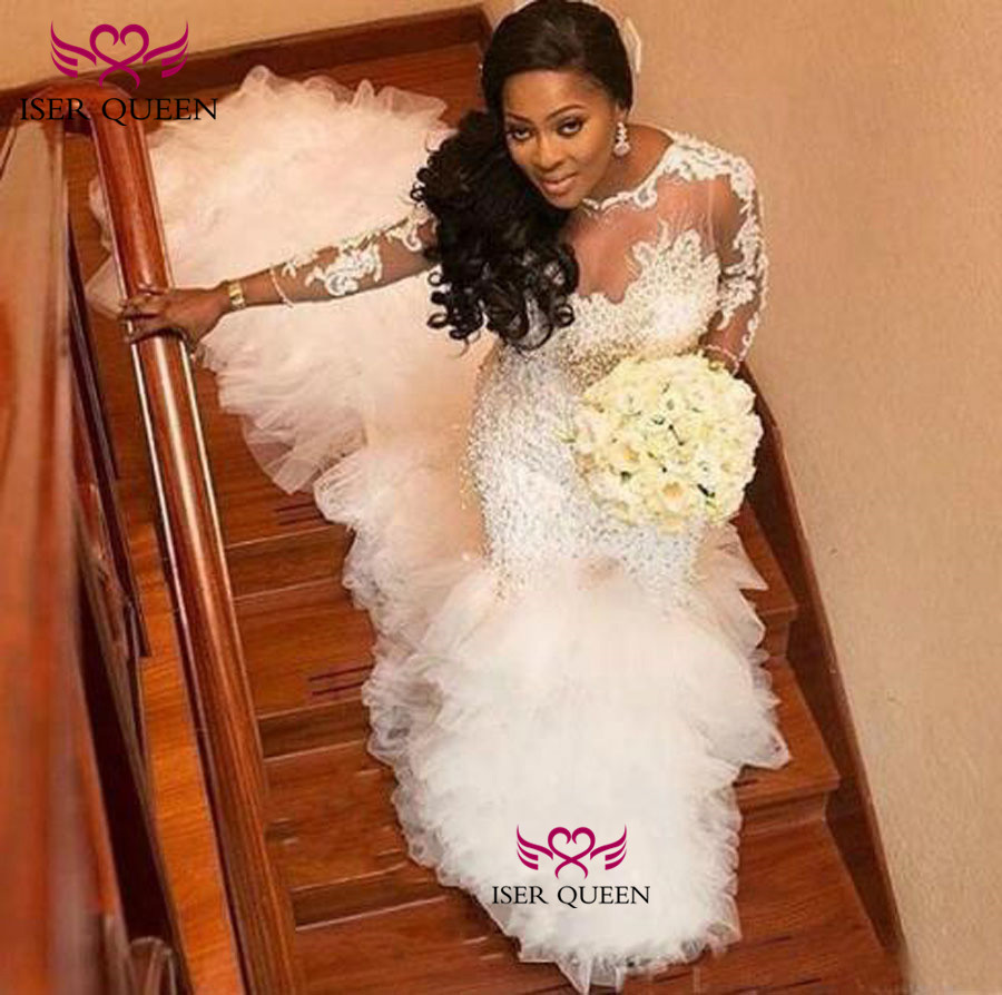 Illusion Long Sleeves Delicate Embroidery Pearls And Beading Mermaid Wedding Dresses Pure White Bride Gown Tired Tulle W0383