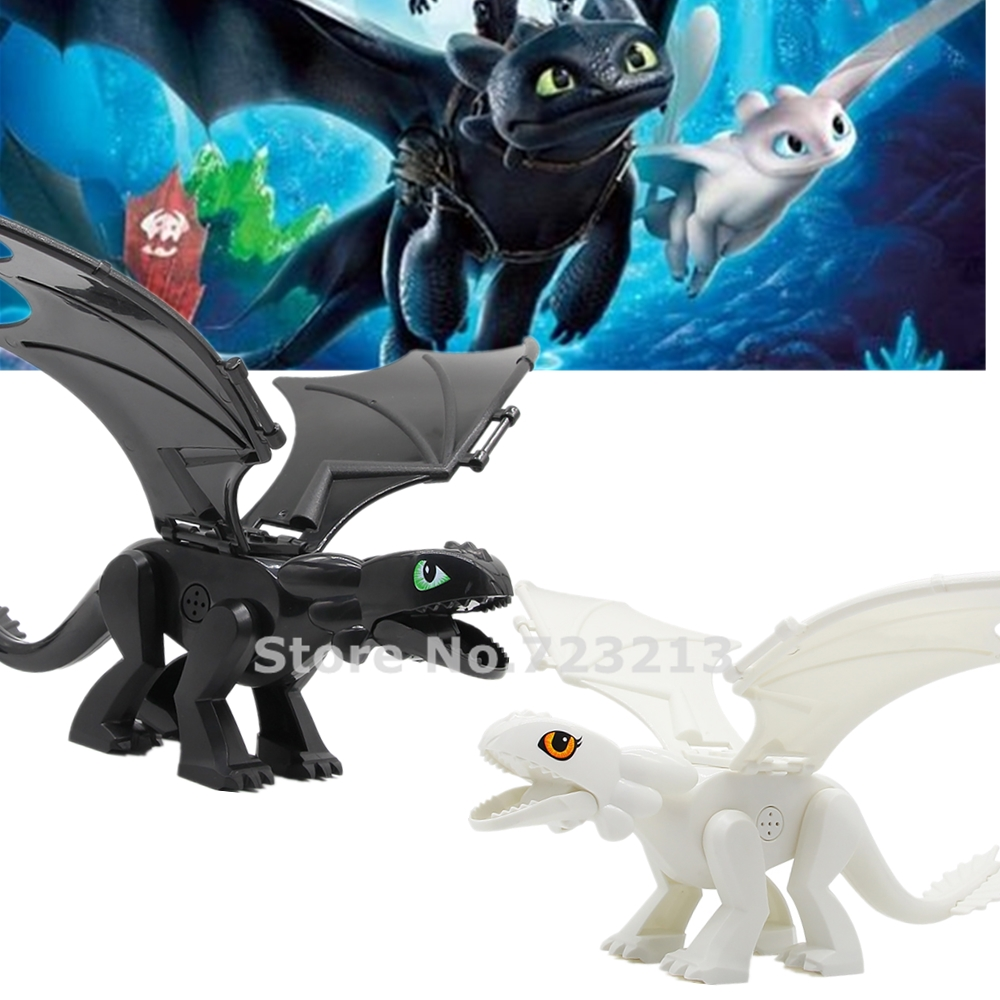 27cm Toothless How To Train Your Dragon Cartoon Movie Night Fury Light Fury Building Block Models Kids Bricks Toys