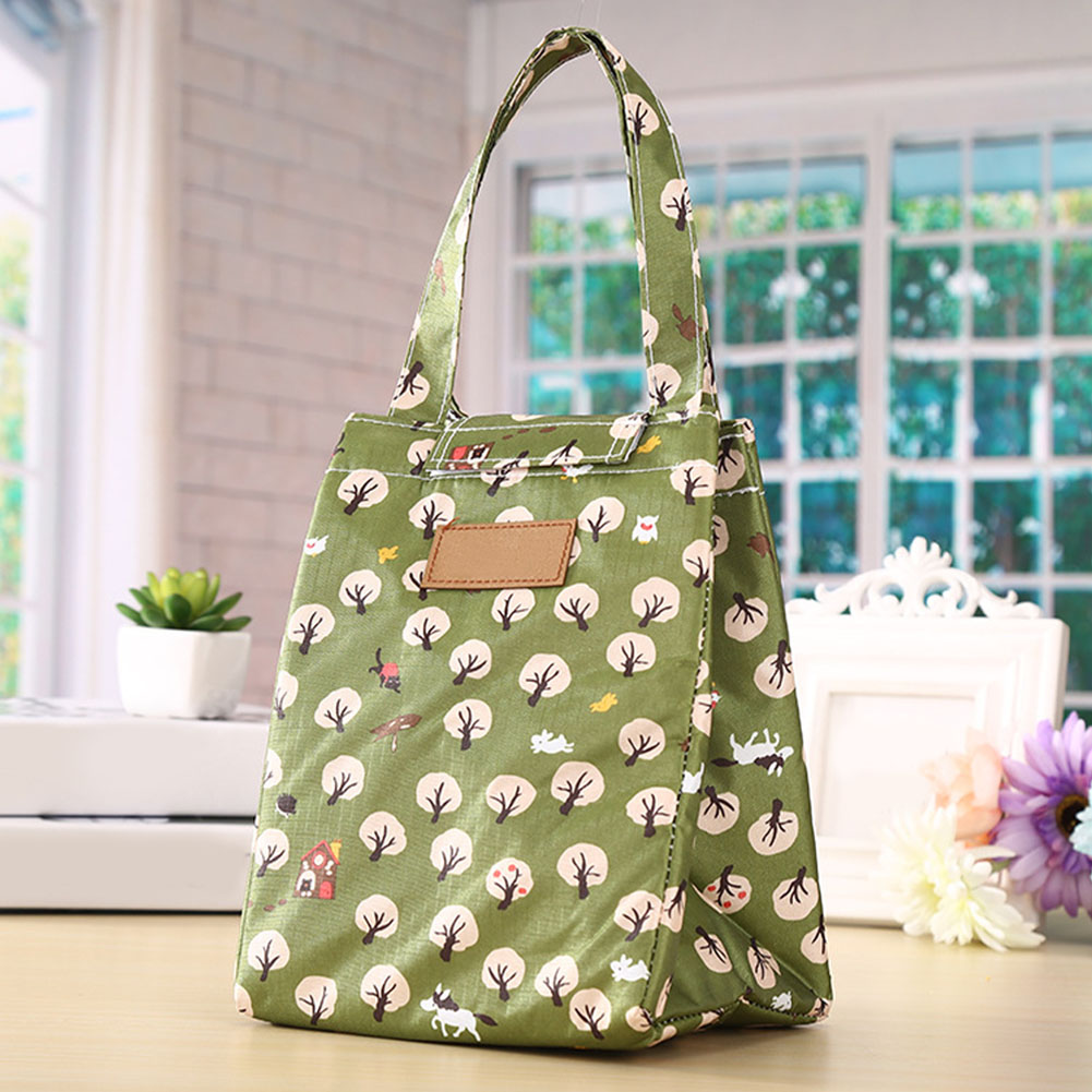 Cooler Tote Lunch Bag Carrying Picnic Bento Pouch Insulated Handbag Oxford Cloth