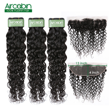 Brazilian Water Wave Bundles With Frontal Human Hair Closure Remy 13x4 Lace