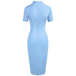 Image 2 - Nice forever Vintage Elegant Solid with V neckline vestidos Business Party Bodycon Slim Women Work Dress B579