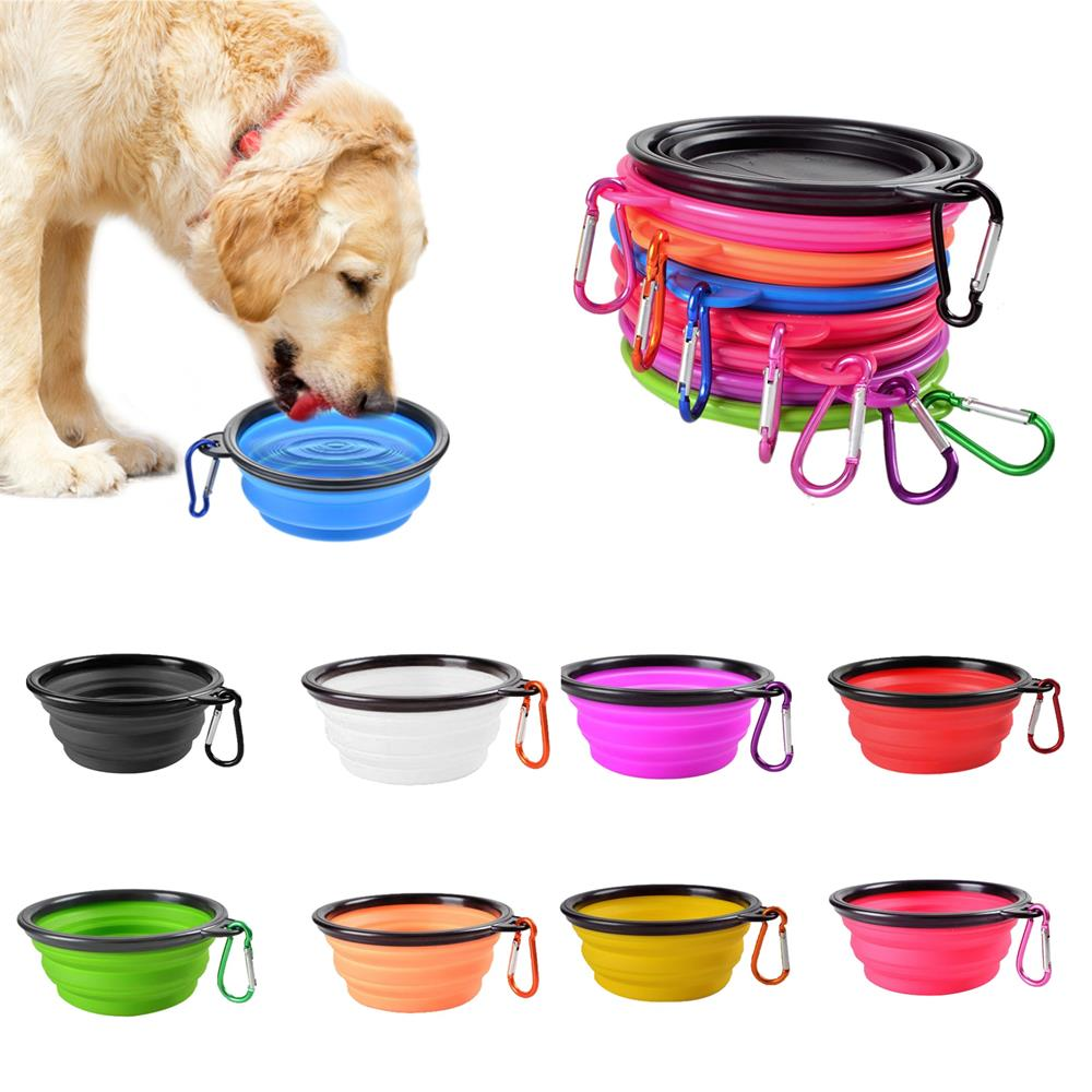 Dog Collapsible Bowl Folding Silicone Pet Travel Bowls Food Water Feeding BPA Free Foldable Cup Dish With Carabiner