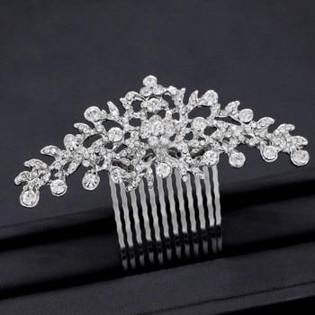 Peineta de flores de cristal para novia a la moda, accesorios para el cabello de boda, tocado de novia hecho a mano, adornos para el cabello, joyería para mujer