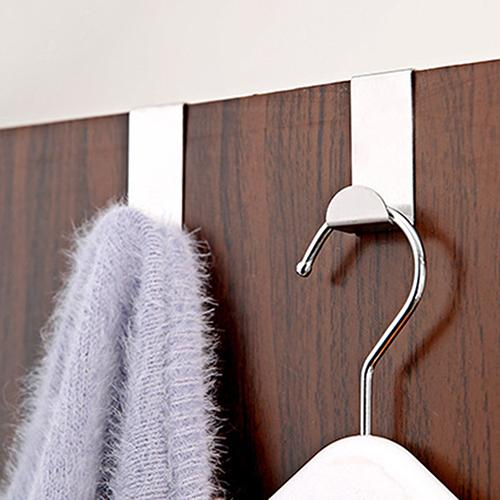 2PCS Self Adhesive Stainless Steel Hanging Coat Hooks Holder Home Kitchen Wall Door Hook Hanger