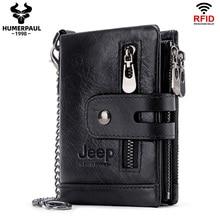 Rfid hakiki inek deri cüzdan erkekler bozuk para cüzdanı küçük Mini kart tutucu zincir portföy Portomonee erkek cüzdan cep moda çile