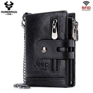 Image 1 - Rfid véritable cuir de vache portefeuille hommes porte monnaie petit Mini port carte chaîne portefeuille Portomonee mâle Walet poche mode moraillon