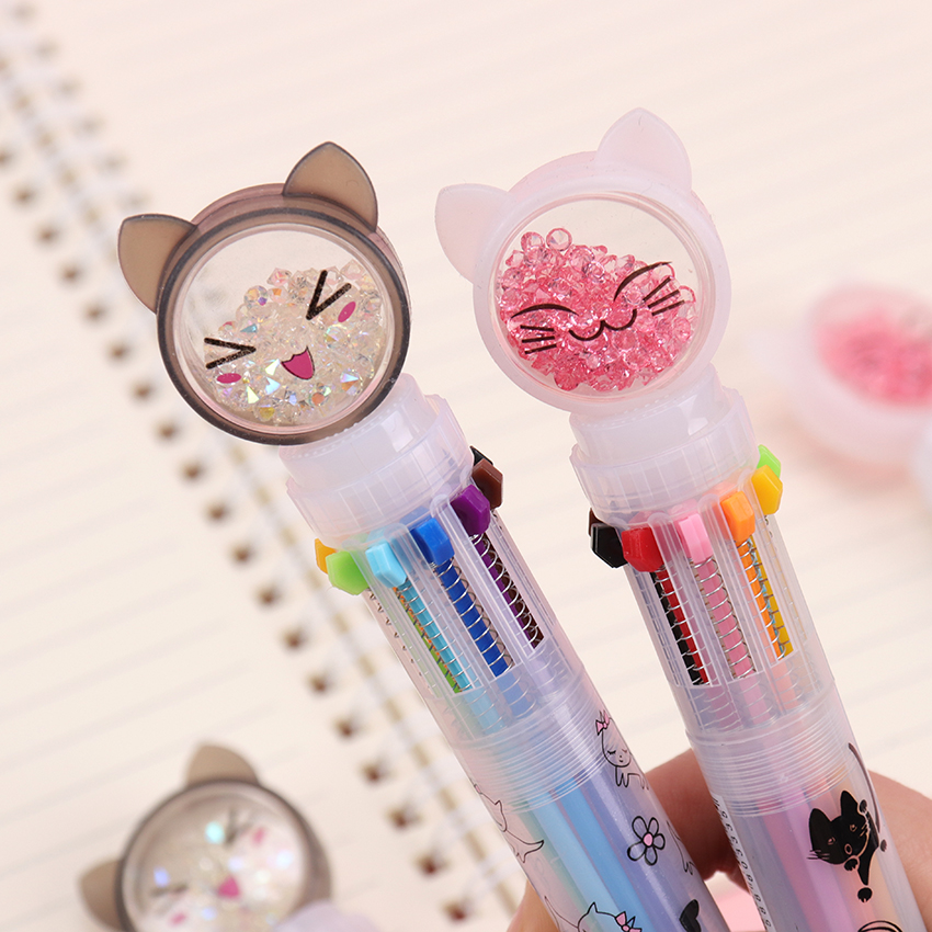 10 Color Flash Drilling Cat Ballpoint Pen Creative Multicolor For Writing Stationery Office & School Pen Ballpen 1PC