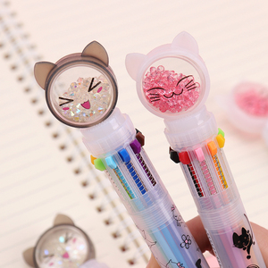 10 Color Flash Drilling Cat Ballpoint Pen Creative Multicolor For Writing Stationery Office & School Pen Ballpen 1PC(China)