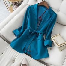 Women 2020 Spring Autumn Elegant Satin Single Button Blazer