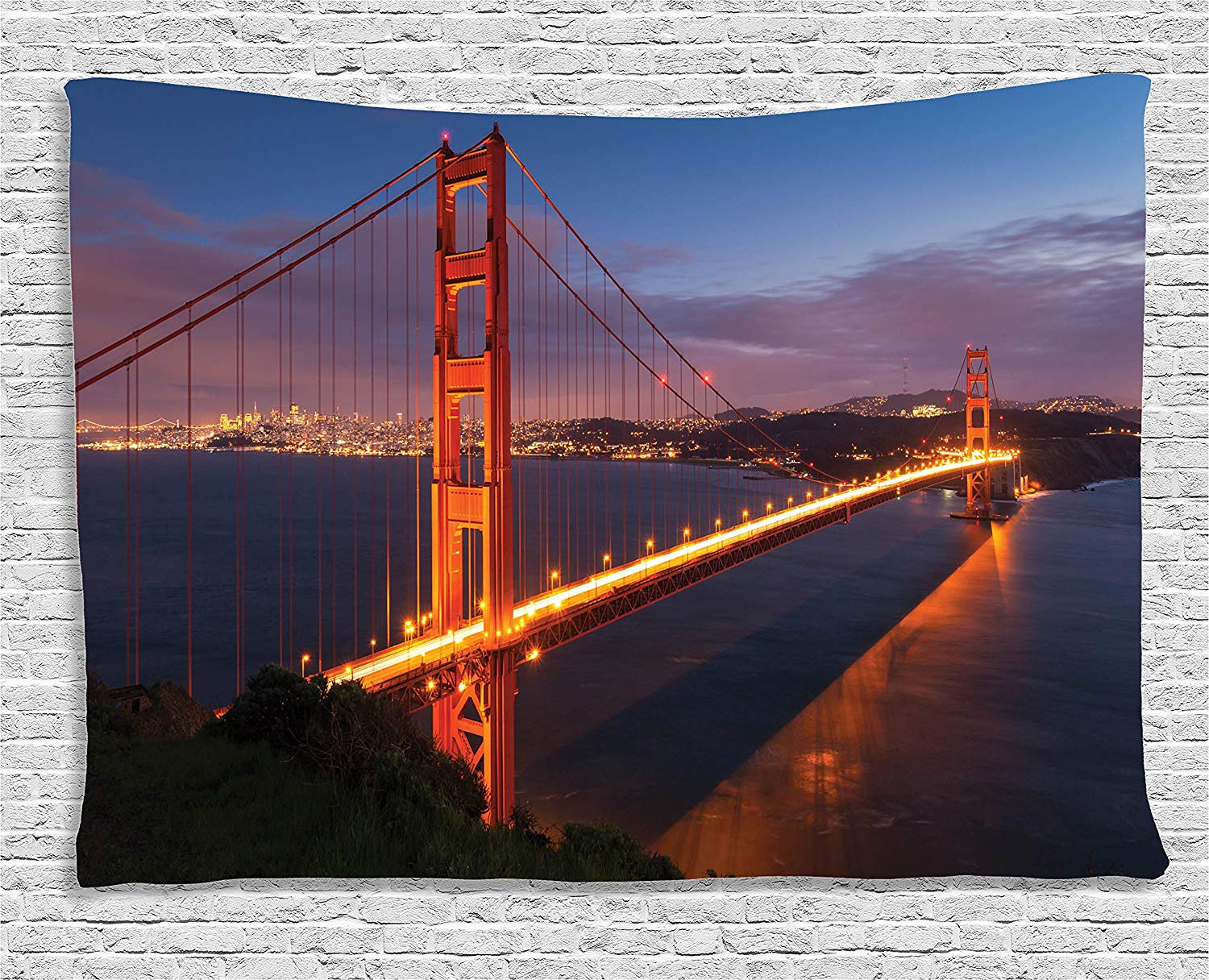 Panorama Of Golden Gate Bridge Famous Architectural Scenery Bedroom Living Room Dorm Wall Hanging Tapestry