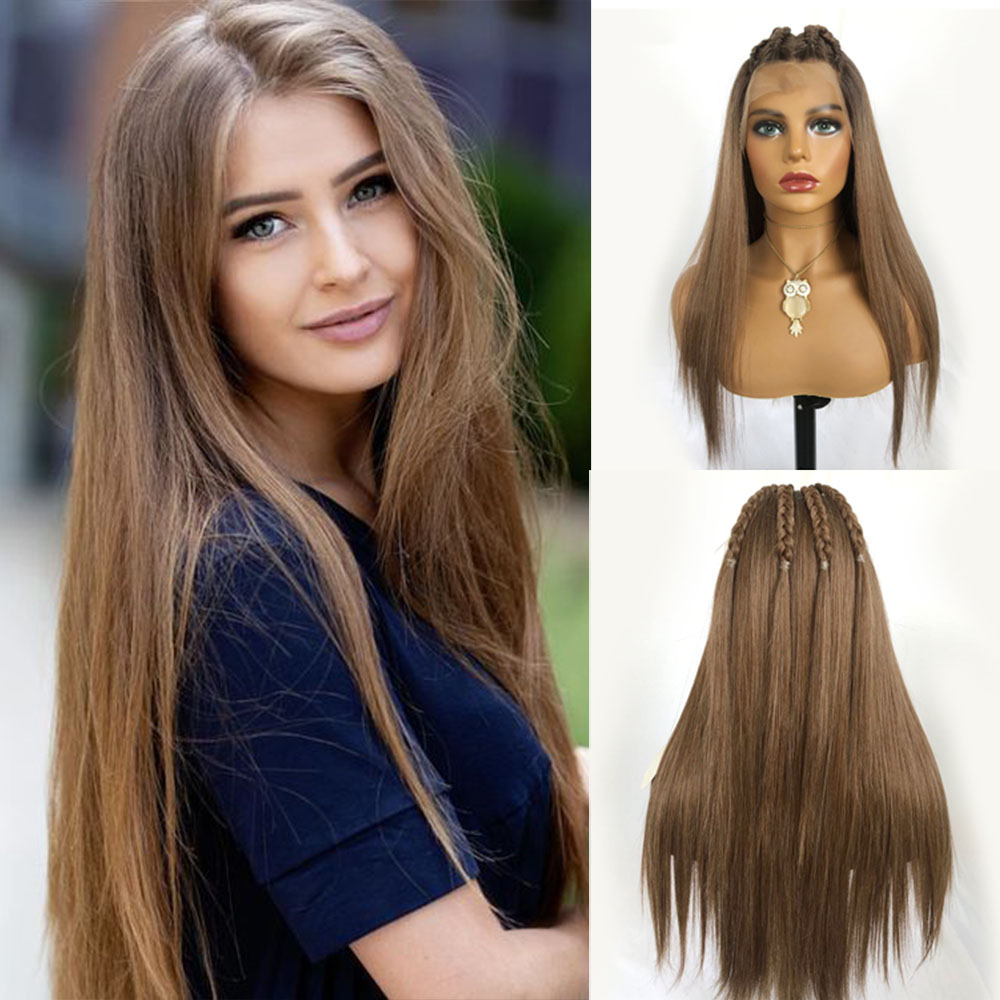 EASIHAIR Long Silky Straight Light Brown Lace Wigs High Density Lace Front Wigs For Black Women Heat Resistant Synthetic Wigs