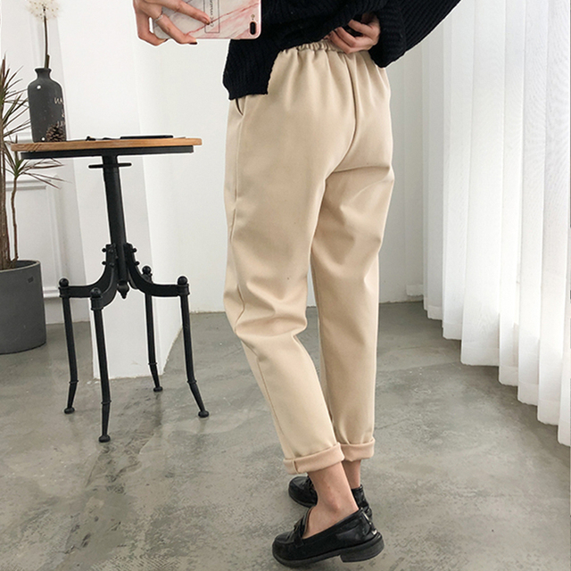 Warm Thicken Winter Women Suit Pants Elastic Waist Women Pencil Pants Plus Size Office Ladies Long Pants Elegant Women Trousers 6