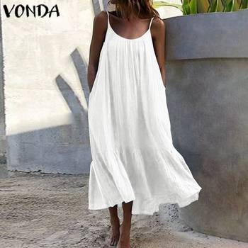 Bohemian Sundres Women Dress 2020 VONDA Summer Sleeveless Maxi Long Dress Beach Holiday Casual Loose Robe Plus Size Vestidos цена 2017