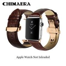 CHIMAERA 애플 시계 밴드 블랙 브라운 시계 스트랩 배포 걸쇠 어댑터 38mm 42mm / 40mm 44mm iWatch 시리즈 4 시리즈 3 2