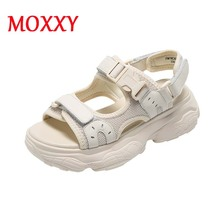 Casual Platform Sandals Women Shoes Classic Soft Flat Beach Ladies Summer New Weaving Strap Black White
