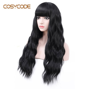 Image 3 - COSYCODE peluca negra con flequillo para mujer, larga, ondulada, sintética, no encaje, disfraz con Peluca de 60 cm