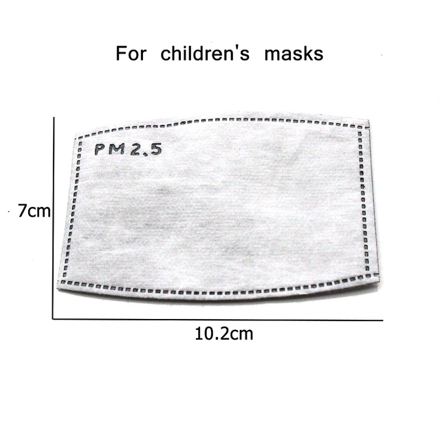 10Pcs PM2.5 Mouth Mask Replaceable Filter-slice 5 Layers Non-woven Activated Carbon Face Mask Filter for Child Kids 1