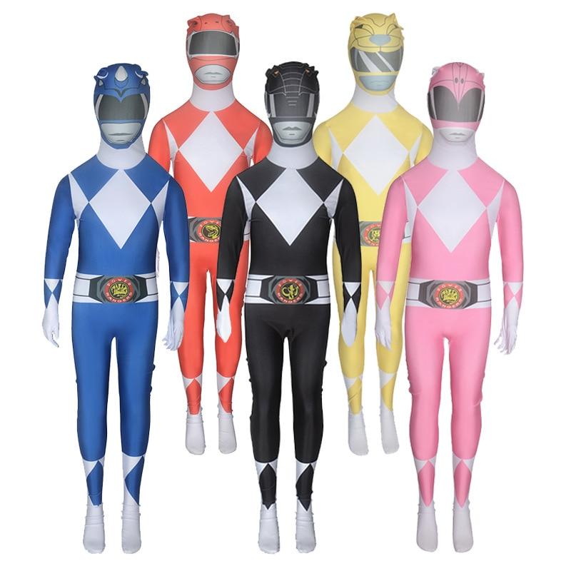 Kids Power Ranger Group Costume One Piece Skin Suit Zentai Cosplay Superhero Fancy Dress
