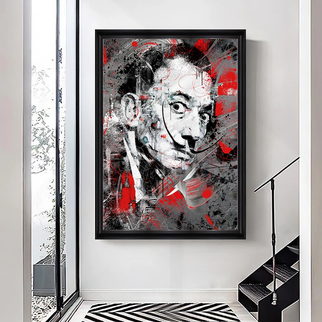 Portrait Art Salvador Dali Oil Painting Canvas Painting Posters and Print Wall Art Picture for Living Room Home Decor (No Frame) 4