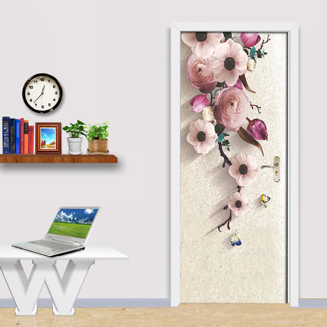Фото 3d стерео hd ручная роспись розовые цветы дверная наклейка обои цена