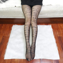 KASURE kadın seksi tayt yazıtlar şeffaf artı boyutu naylon tayt desenli dövmeler külotlu çorap yeni moda hortum