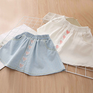 2021 Autumn Spring 2 3 4 6 8 9 10 12 Years Kids Cotton School Embroidery Lovely Cotton Denim Skirt With Pocket For Baby Girls