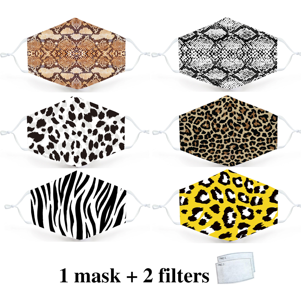 Leopard Animal Print Fashion Mask Reusable Protective PM2.5 Filter Zabra Printing Mouth Mask Face Mask Bacteria Proof Flu Mask
