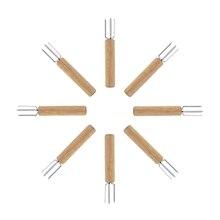 Держатели для кукурузы, нержавеющая сталь с деревянной дубовой ручкой держатели для Кукуруза в початках для детей и взрослых домашняя кухня и барбекю, набор из 32