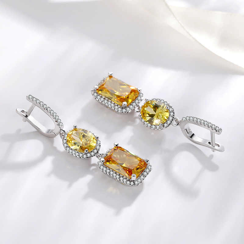 Silver 925 Jewelry VVS1 Diamond Earring for Women Topaz Bizuteria Gemstone Silver 925 Jewelry Drop Garnet Earring Orecchini Girl