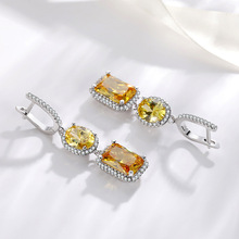 Silver 925 Jewelry VVS1 Diamond Earring for Women Topaz Bizuteria Gemstone 925 Silver Jewelry Drop Garnet Earring Orecchini Girl cheap NoEnName_Null GDTC GOOD Round Shape 925 Sterling Party Fine jewelry for women Other Natrual material Drop Earrings geometric