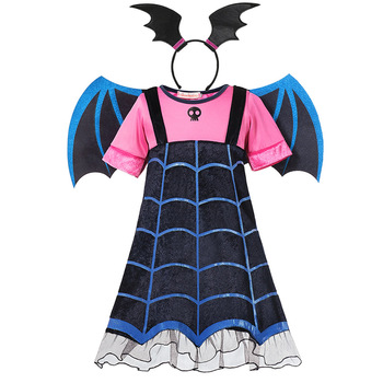 MUABABY Girls Vampire Fancy Dress Up Costumes Clothes Short Sleeve Carnival Halloween Vampire Party Gown Children Frocks