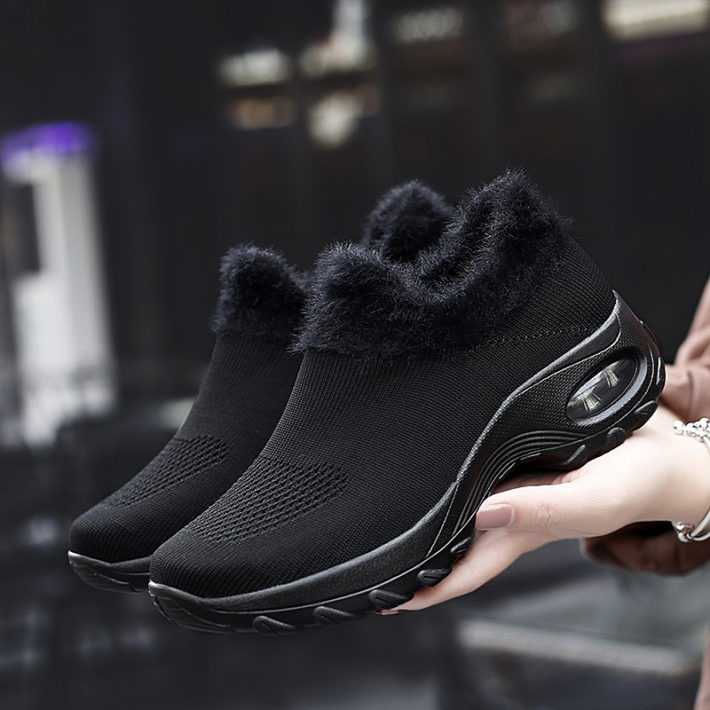 Woman Warm Fur Sock Slip On Shoes