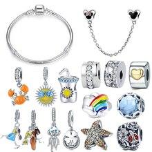 Браслет Pandora, серебро 925,, солнечные очки, чашка для напитков, краб, морская звезда, осьминог, амулеты, CZ жук, бусины с клевером, браслет