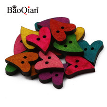 50pcs Natural Wood 18.5mm Heart-Shaped 2 Hole Buttons Handmade Clothing Sewing Accessories Diy Home Decoration Scrapbook