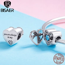 BISAER Charm Bracelets Beads New Product 925 Sterling Silver Zircon  Love Stone for Women Jewelry Making Gifts GXC1053