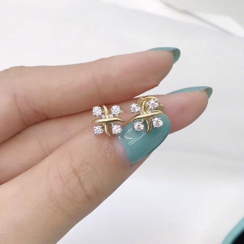 1: 1 Original Model S925 Sterling Silver Earrings Classic Fashion  Flower Zircon Earrings Ladies Jewelry Birthday Gift