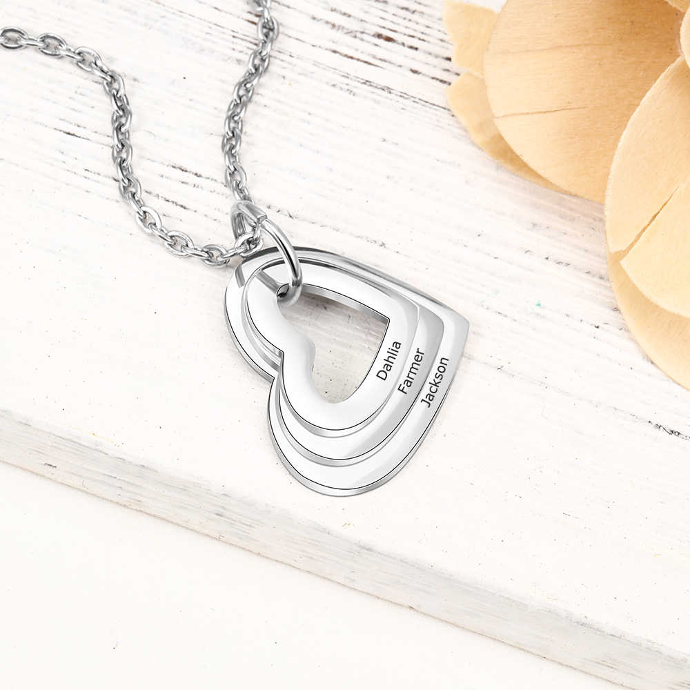 Personalized Necklace Fashion Stainless Steel Jewelry Hollow Heart Pendant Custom 3 Names Charm Necklace Promised Gift for Women