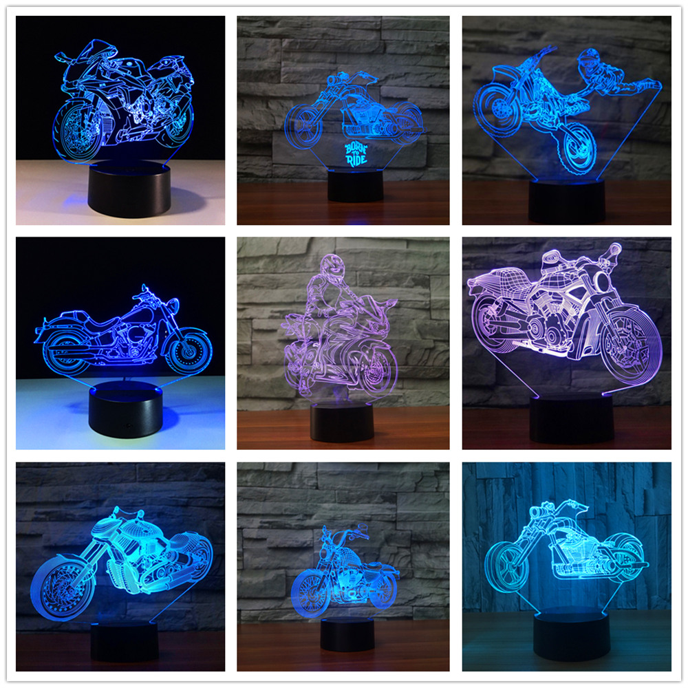 Motorcycle motor bicycle 3d Led Night Lamp Touch Switch Table Lamp Usb 7 Color Change Decor Colorful Led Lighting solomachine image