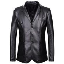 Прямая поставка, весенне осенняя свободная кожаная куртка с отложным воротником, мужская кожаная повседневная куртка, мужское кожаное пальто