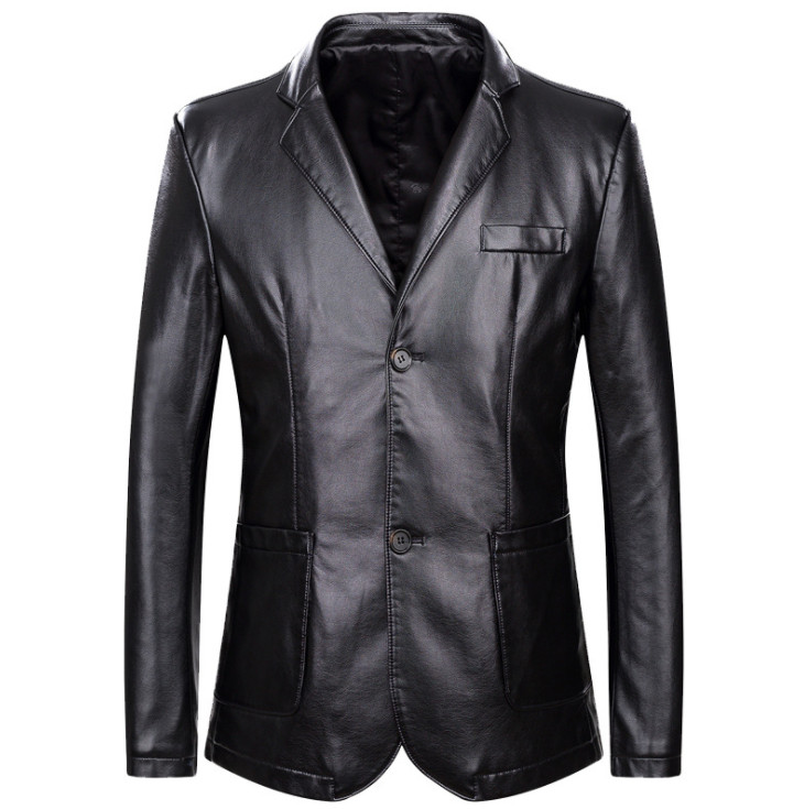 Dropshipping Spring And Autumn Loose Lapel Leather Jacket Men Plus Size Leather Casual Jacket Mens Leather Coat
