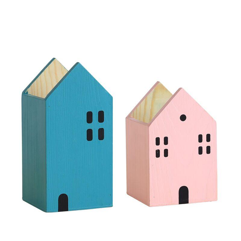 House Shape Wood Pen Holder Table Organizer Storage Box 5