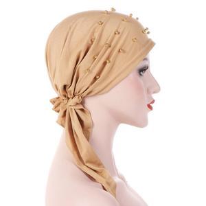Image 5 - מוסלמי נשים בנדנה חיג אב כובע סרטן כימותרפיה כובע שיער אובדן ראש צעיף טורבן לעטוף Islmaic Headwear חרוזים למתוח הערבי Underscarf